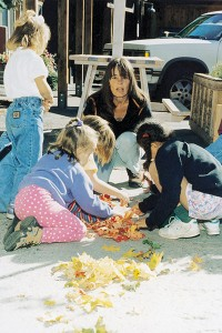 At left, Jann Haworth helps the students sort fall leaves into color categories. As the Sundance art director, Haworth oversees the students' weekly trips to the Art Shack. Haworth is on the school board for Sundance Mountain School and helps develop the curriculum.