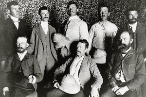 Expeditioners who continued into Mexico, from left Joseph Adams, Walter Wolfe, Asa Kienke, Heber Magleby, Benjamin Cluff, Chester Van Buren, John B. Fairbanks and Paul Henning. (Walter Tolton not shown.)