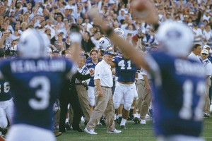LaVell Edwards enjoyed a .716 career winning percentage at BYU, including 28 non-losing seasons. Edwards coached 22 victories over archrival University of Utah.