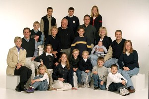 """This family photo of LaVell and Patti Edwards with all of their children and grandchildren (minus one grandson on a mission) was taken hours before Cougar Stadium was renamed """"LaVell Edwards Stadium."""""""