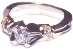 HUR JEWELERS custom two-tone princess cut sides bell shank
