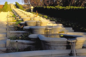 "The Italian Garden is reminiscent of a 16th century Italian villa. Cascading basins ""are big enough to take a bath in,"" says Karen Ashton, visionary for Thanksgiving Gardens. ""But I hope no one does."" The flora on one side of the basins loves the water, while the plants on the other side do well naturally in the dry Utah climate"