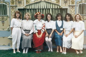 Karen Ashton (in the red hat) headed up the first Timpanogos Storytelling Festival in 1989 with a handful of volunteers, of which most are still on the board today for their 12th annual event.