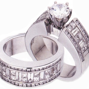 platinum, round solitaire baguettes and rounds