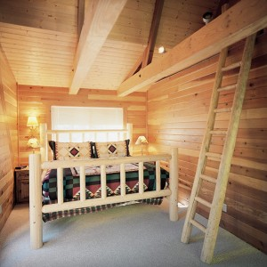 this is one of two bedrooms on the second floor of the cabin. Both bedrooms include king-sized beds, TVs, walk-out decks and lofts perfect for a children's hide-away.
