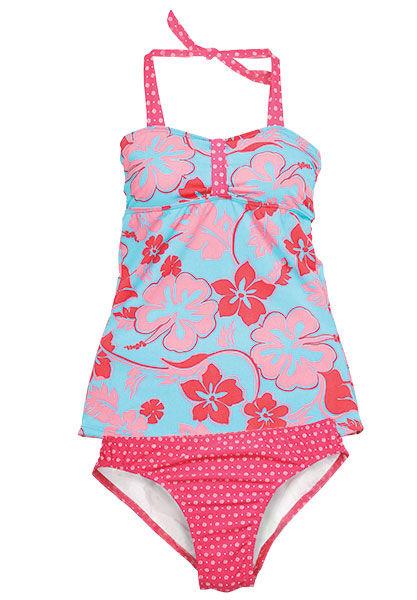 This flirty tankini mixes things up with cute polka dots, vibrant red color and a playful print.