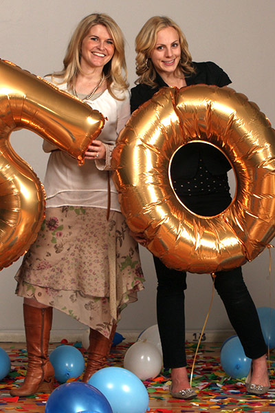 Editors Jeanette Bennett (left) and Kate Nash celebrated the miracle of getting 50 fabulous  and busy folk to fun-filled photo shoots in January and February.