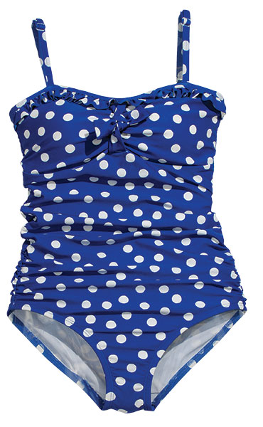 Pack your polka dots and plan for adventure with this royal blue polka-dotted swimsuit.