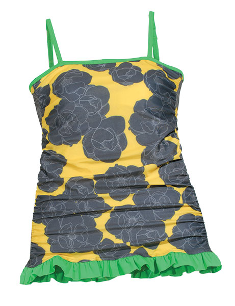 Is it sunny or is it gray? Hit the road either way. Slate roses bloom on this sunshine yellow tankini trimmed in lime green.