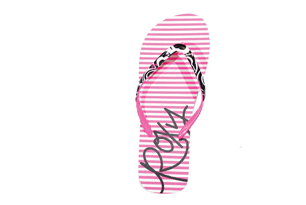 Treat your feet to some pink-striped flip flops from Roxy.  Cute and casual? Yes, please.