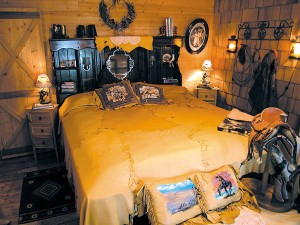 Carole made their bedspread from leather.