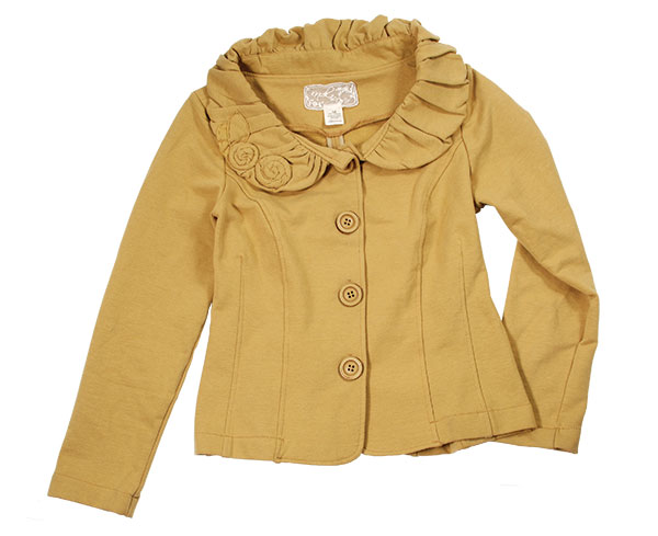 Bridgette Fleece Jacket Fabric rosettes dot the gathered collar of a shapely fleece jacket in this season's hottest shade of mustard.