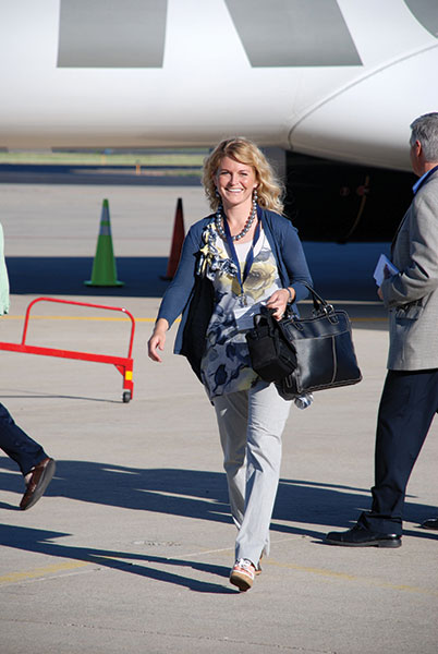 Editor Jeanette Bennett was aboard the first commercial flight out of Provo Airport on June 21, 2011. (She was also the first to get in trouble by airport security when she veered off to say hello to photographer Dave Blackhurst before getting on the plane.)