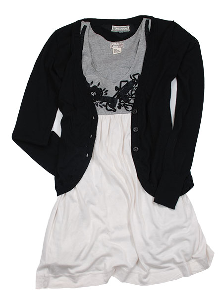 4. Volcom Cardigan/Element Dress Pair this cardigan-and-dress duo with boots for a great winter look or ditch the sweater for a stylish summer ensemble.