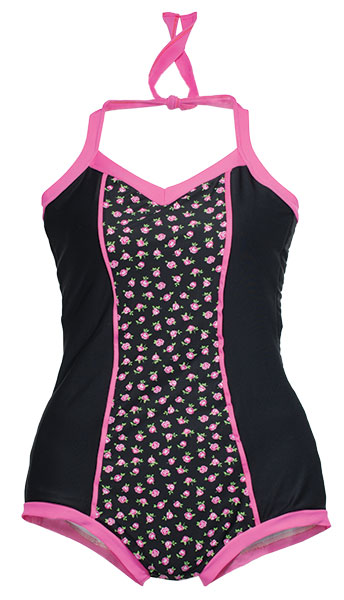 You'll be pretty in pink in this retro-inspired swimsuit from Billiejo. This timeless cut can be customized with whatever fabric shade or print your heart desires.