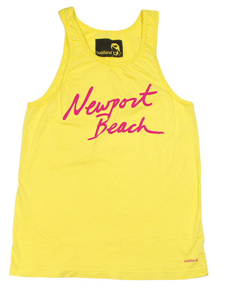 Accentuate your summer tan with this bright yellow toddland tank.