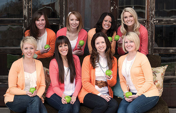 Clockwise (from upper left): Jackie Chesnut, Liz Reid, Andrea McAffee, Lindsey Schaack, Shea Henrie, Ardice Lorscheider, Angela Hart, Kelli Jacobsen. Photography by Koreena Taualii
