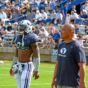 Jamaal Williams, a 6-foot, 200-pound sophomore from Fontana, Calif., is pictured here with running backs coach Mark Atuaia.