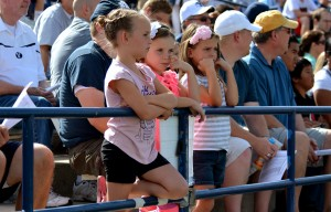Even these young fans were caught up in the action of the scrimmage.