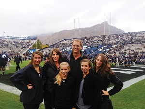 "Ty and Kim Detmer have raised their four daughters in Texas, although their two oldest are now attending Dixie State (Aubri, far left) and BYU-Idaho (Kaili, far right). His youngest started seventh grade this fall. ""I love having daughters,"" Ty says. ""They still like to get dirty, but they clean up better than boys do. I tell my wife we didn't have a son because she would have been harder on him than I would have been when it came to sports."" (Photo courtesy of Ty Detmer)"