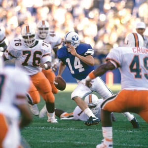 Ty Detmer's most memorable outing in a Cougar uniform was the opening home game of his junior year against Miami, the defending national champions. The BYU-Miami broadcast is still the highest-rated college football game in ESPN history. (Photo courtesy of BYU Photo)