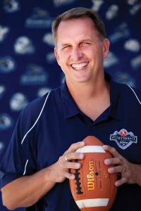 "Whenever coaching assignments are shuffled at BYU, Ty Detmer's name gets thrown around on sports talk radio and social media. ""If I wanted to coach college football, BYU is where I'd want to be,"" Ty says. ""But for right now, I love the lifestyle of high school coaching because it allows me to get to my daughters' events."" (Photo by Kenneth Linge)"