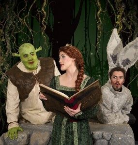 "B.J. Oldroyd (Shrek), Madeline Weinburger (Fiona) and Wes Tolman  (Donkey) are part of the cast for""Shrek the Musical."" (Photos by Mark A. Philbrick)"