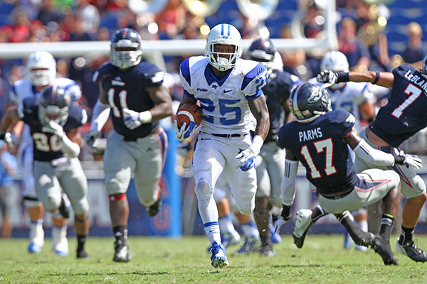 Reggie Whatley, Middle Tennessee running back. (Photo by Bradley Lambert, MT Athletic Communications)