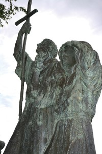 A statue in Spanish Fork's City Park depicts the arrival of Fray Francisco  Atanasio Domínguez and Silvestre Vélez de Escalante into Utah Valley. (Photo courtesy of Utah State Historical Society)