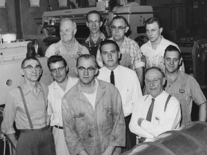 Thomas S. Monson with employees at Deseret News Press, 1950