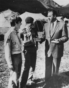 President Monson with boy scouts, 1970.