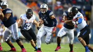 Quarterback Taysom Hill passed for 339 yards and three touchdowns. He also rushed for 69 yards. (Photo by BYU Photo.)