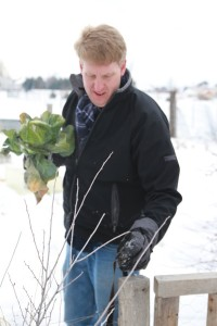 Caleb Warnock works in his garden during the winter months. (Photo courtesy Caleb Warnock)