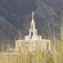 The angel Moroni is placed on top of the Payson temple in October 2013. The Payson temple is one of 15 temples under construction. (Photo by Alisha Gallagher)