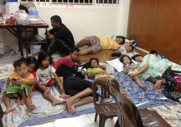 Evacuees at the Carajay Meetinghouse in Lapulapu City (Mactan) took shelter as early as Nov. 7 as they braced for the strongest typhoon to hit the Philippines this year. (Photo courtesy Mormon Newsroom)