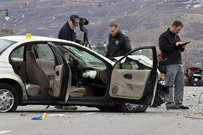 A Orem man died in an accident at 800 North and 100 East in Orem Tuesday morning. Orem police are investigating the case. (Photo by Alisha Gallagher)