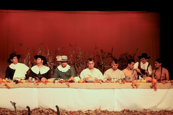 The pilgrims and indians join together for a Thanksgiving feast at last year's Eat Like a Pilgrim event. (Photo courtesy Thanksgiving Point)