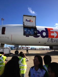 The first shipment of donated goods arrives by plane in the Philippines. (Photo courtesy Global Goods)
