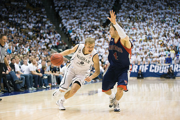 Junior Tyler Haws continues to be high on the list of BYU fan favorites, while being lower on the list of opponents' favorites. (Photo by Jaren Wilkey/BYU Photo)
