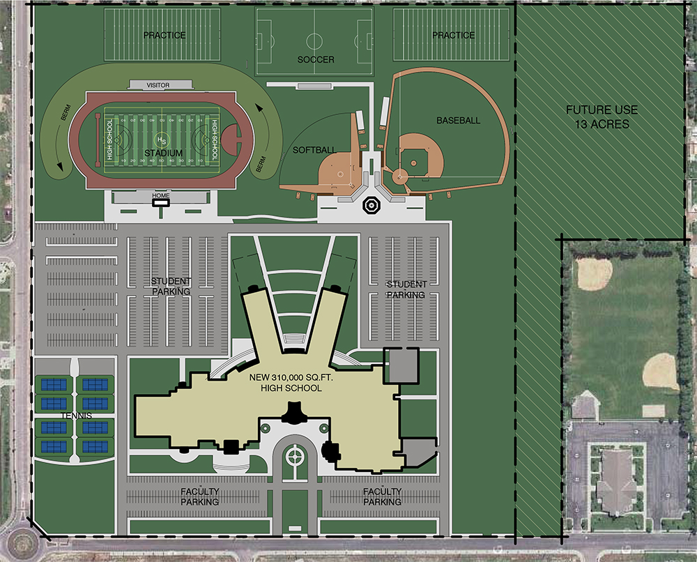 "The ""New NE Lehi high school"" will look similar to Westlake High located in Saratoga Springs."