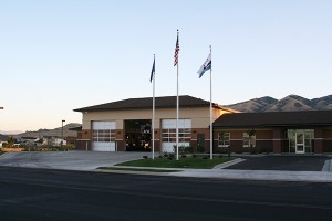 The sun sets on Station 82 of the Lehi Fire Department.