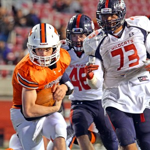 Despite his small frame, Covey has no fear taking on much larger defensive linemen.