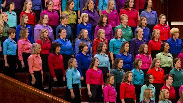 LDS sister missionaries in the Provo Missionary Training Center sing at the September 2013 General Relief Society session of General Conference. (Photo courtesy LDS Church)