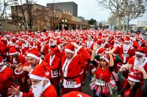 The Provo Santa Run crowds the streets with Santa Claus a few times over again. (Photo courtesy Provo Santa Run)
