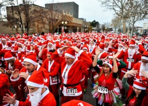 The Provo Santa Run crowds the streets with Santa Claus a few times over again. (Photo courtesy Provo Santa Run)