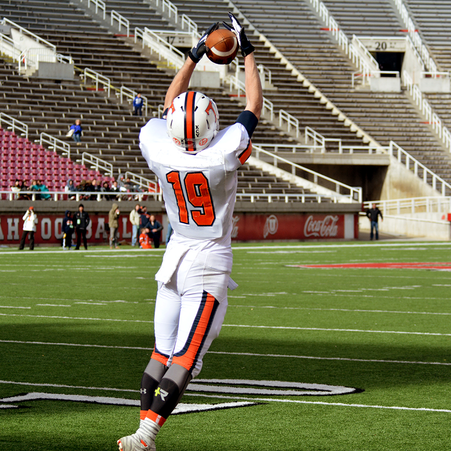 One of Rhett VanLeeuwen's six catches from quarterback Britian Covey.