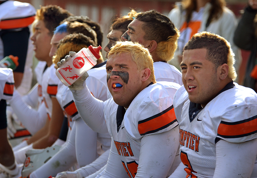 The Timpview defense rests during the second half.