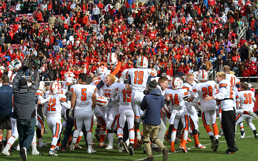 The Timpview Thunderbirds celebrate a second consecutive state championship in front of a deflated East crowd.