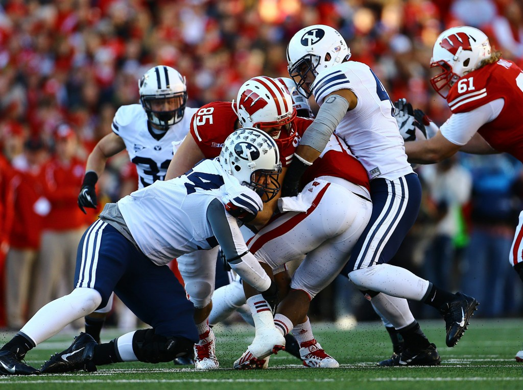 Two physically impressive teams went toe-to-toe for four quarters Saturday afternoon at Camp Randell, with the Cougars losing by ten. (Photo by BYU Photo.)