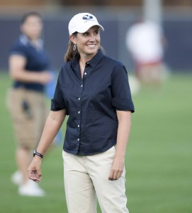 BYU women's soccer head coach Jennifer Rockwood has over 300 wins and counting. (Photo by Jaren Wilkey/BYU Photo)